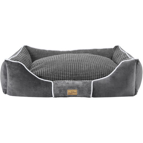 Deluxe Dog Bed Pet Snuggle Basket Cuddler Cushion with Removable Pillow Soft,Grey 93.5x76x20cm