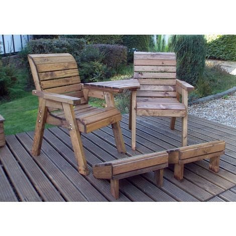 Deluxe Lounger Set (Angled) Quality Wooden Garden Furniture, fully assembled