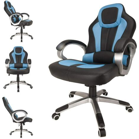 Deluxe Padded Gaming Office Chair - Blue/Black