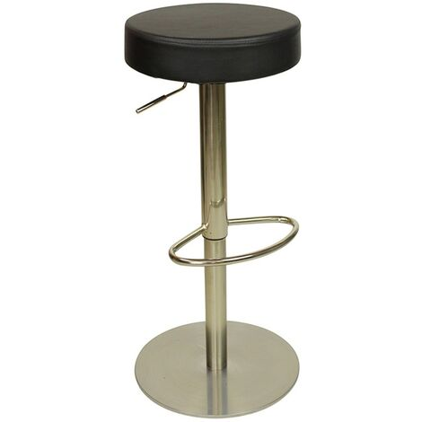 Deluxe Sampo Chrome Bar Stool Black Weighted Base No Back