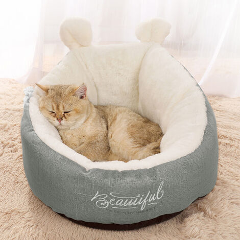 Deluxe Warm Soft Puppy Dog Cat Pet Warm Basket Bed Funny Bunny Ear Embrace Donut