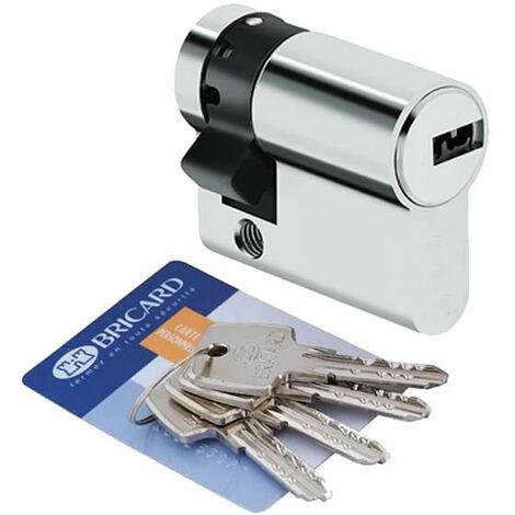 Demi Cylindre de porte 30x10 mm BRICARD ASTRAL 4 cléfs et carte Barillet de sécurité