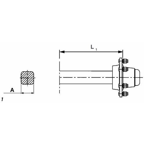 Demi-essieu carré 50x50x5 -5 boulons L 200