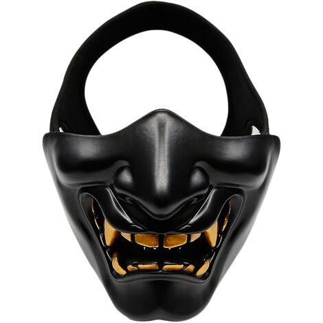 Demi-masque de protection du bas du visage pour les jeux de camping Cosplay Party, modele: noir