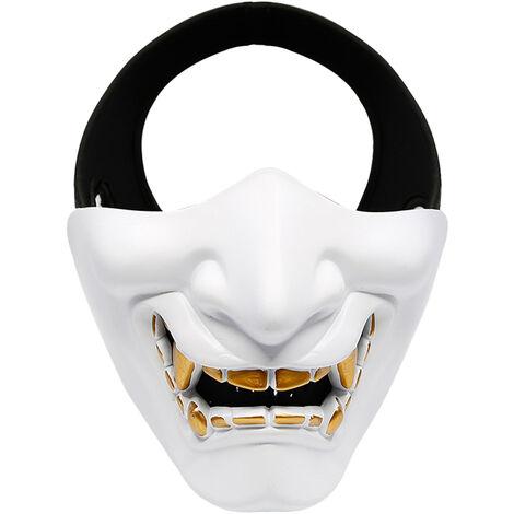 Demi-Masque, Masque De Protection Bas Du Visage, Adapte A La Fete De Jeu De Role De Jeu De Camping, Blanc
