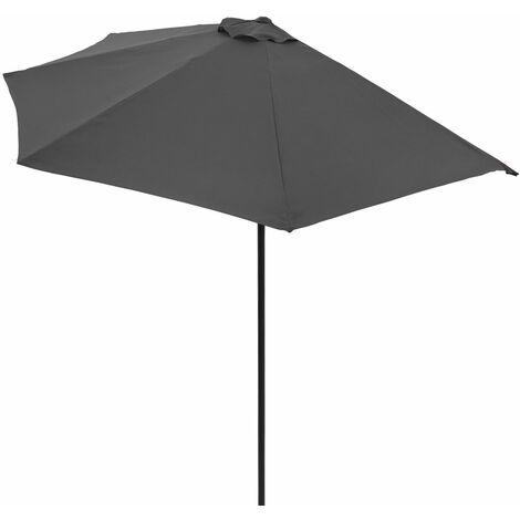 Demi-parasol avec manivelle Ø 3m - Terrasse balcon - rouge / crème / anthracite