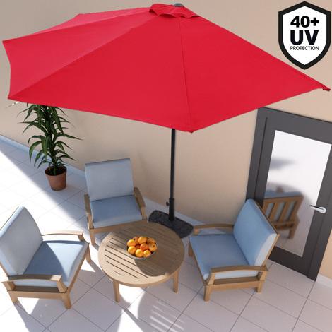 Demi-parasol avec manivelle - Terrasse balcon - Crème