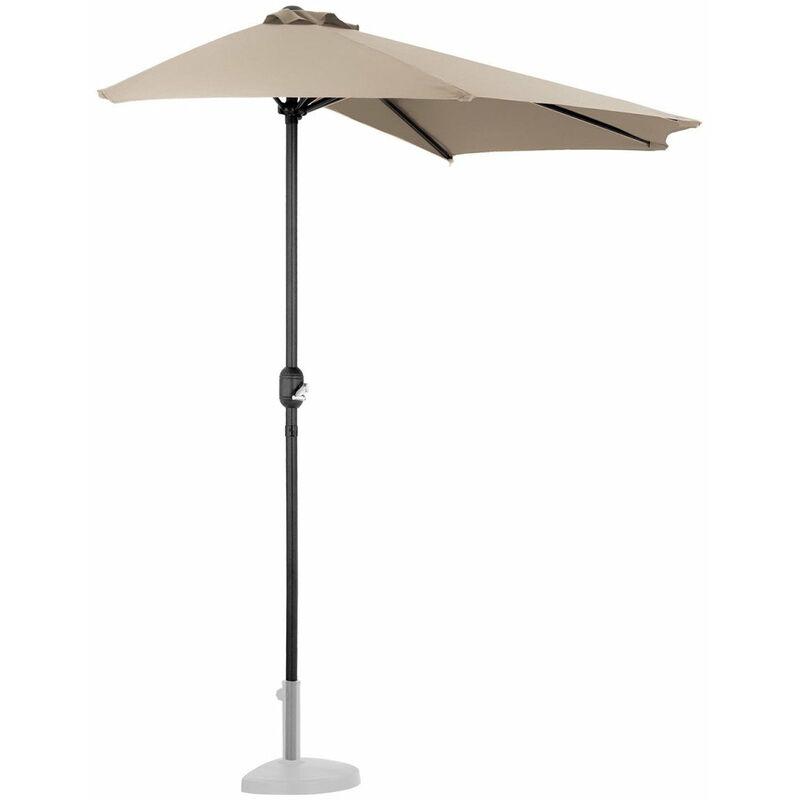 Helloshop26 - Demi parasol de jardin meuble abri terrasse pentagonal 270 x 135 cm crème - Crème