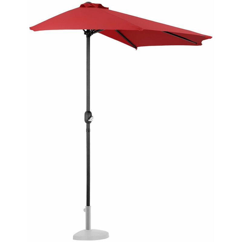 Helloshop26 - Demi parasol de jardin meuble abri terrasse pentagonal 270 x 135 cm rouge - Rouge