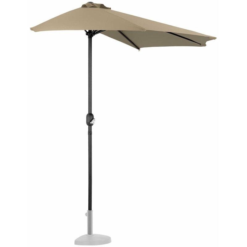 Demi parasol de jardin meuble abri terrasse pentagonal 270 x 135 cm taupe - Taupe