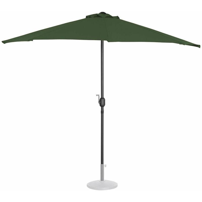 Demi Parasol de jardin meuble abri terrasse pentagonal 270 x 135 cm vert - Vert