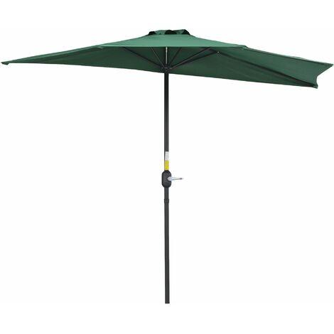 Demi parasol, parasol de balcon 5 entretoises aluminium polyester 2,69L x 1,38l x 2,36H m vert 07GN