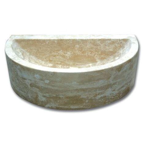 Demi vasque pierre travertin beige 42x26x12 cm