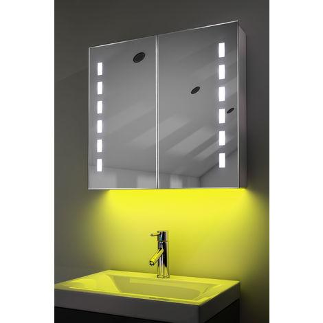 Demist Cabinet With LED Under Lighting, Sensor & Internal Shaver Socket k361y
