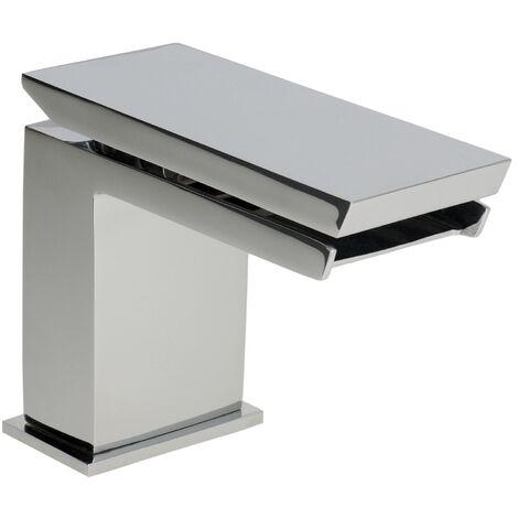 Demm Razor Waschbeckenarmatur Einhandmischer hochwertige Ausführung freier Auslauf mit Pushopen Ablaufventil, 31241.003.C, 85 x 12