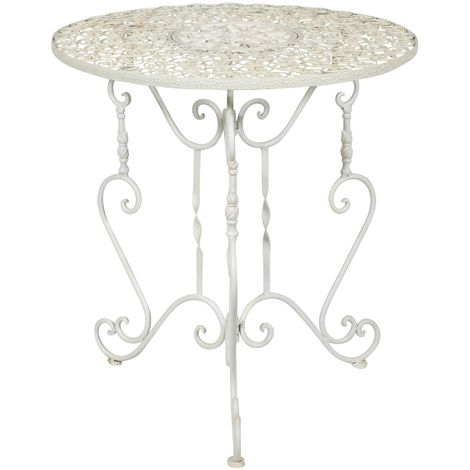 DEMOUNTABLE WROUGHT IRON TABLE, WITH ANTIQUED WHITE FINISHING