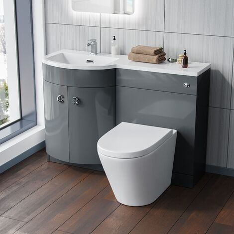 Dene 1100 mm Grey Basin Vanity Unit and Back To Wall WC Toilet