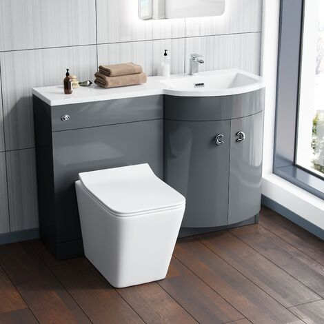 Dene 1100 mm Grey RH Vanity Unit and Back To Wall WC Toilet