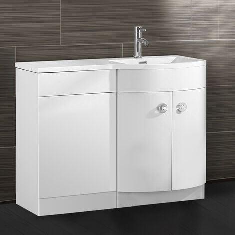 """main image of """"Dene 1100mm RH Bathroom D Shape Basin Vanity Unit White"""""""