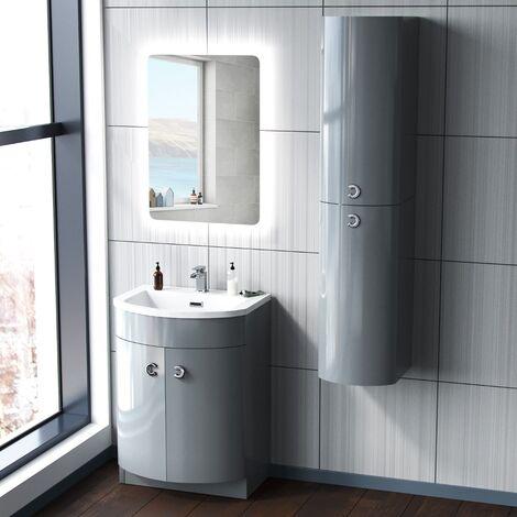 Dene 600mm Light Grey Vanity Unit and Wall Storage Cabinet
