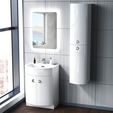 Dene 600mm White Vanity Unit and Wall Mounted Storage Unit