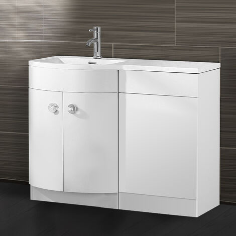 Dene Bathroom D Shape White Basin Vanity WC Unit Cabinet 1100 Left Hand
