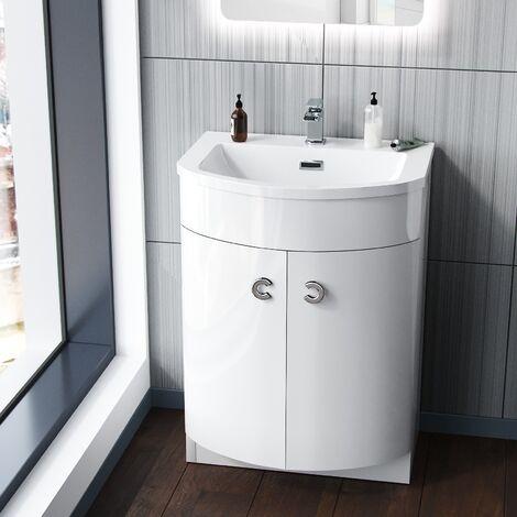 DENE Freestanding White Gloss Basin Vanity Unit - 600mm