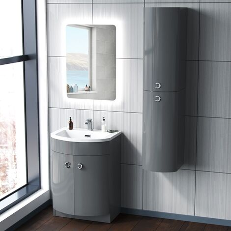 Dene Grey 600mm Vanity Unit and Wall Storage Cabinet