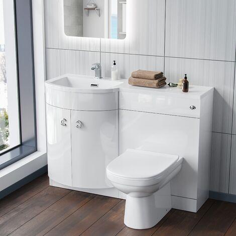 Dene Left Hand White Bathroom Basin Vanity Unit WC with Toilet