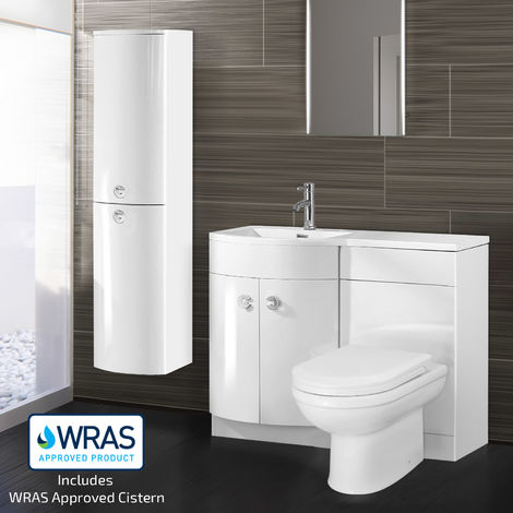 DENE Left Hand White Gloss Basin Vanity Unit WC Toilet Unit + Side Cabinet Suite - 1100mm