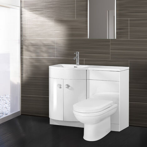 Dene Left Hand White Gloss Bathroom Basin Vanity Unit WC Toilet Cabinet Suite - 1100mm