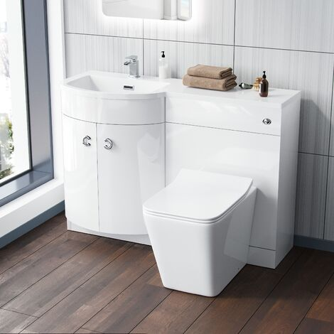 "main image of ""Dene LH 1100mm Vanity Basin Unit White & Elora Back to Wall Toilet White"""