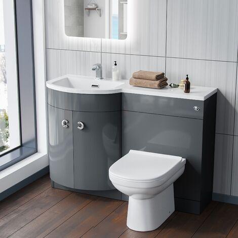Dene LH Grey Vanity Sink and Debra BTW Toilet Combo Unit