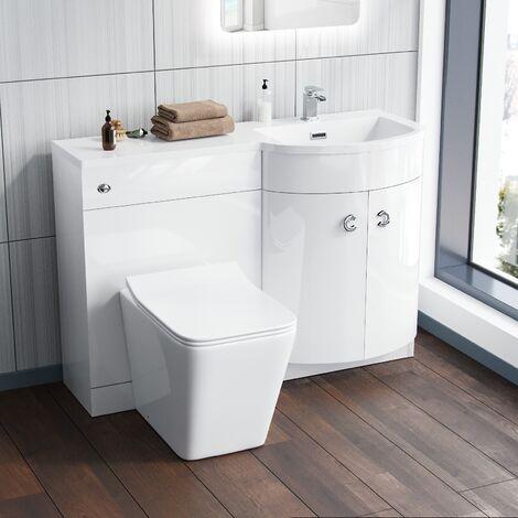 "main image of ""Dene RH 1100mm Vanity Basin Unit & Debra Back To Wall Toilet White"""