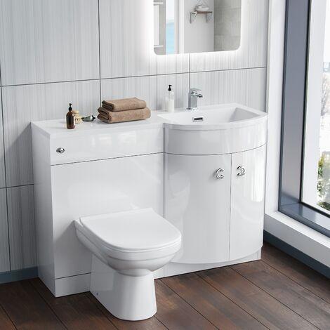 Dene Right Hand White Bathroom Basin Combination Vanity Unit WC with Toilet