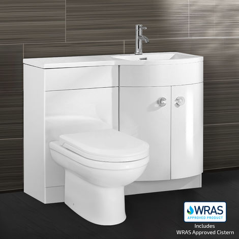 DENE Right Hand White Gloss Bathroom Basin Vanity Unit WC Toilet Cabinet Suite - 1100mm