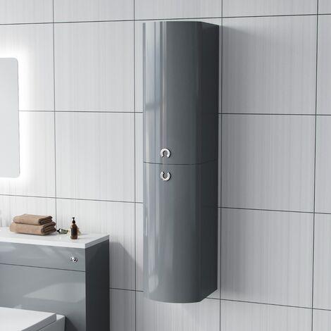 "main image of ""Dene Tall Wall Hung Bathroom Cabinet Light Grey"""