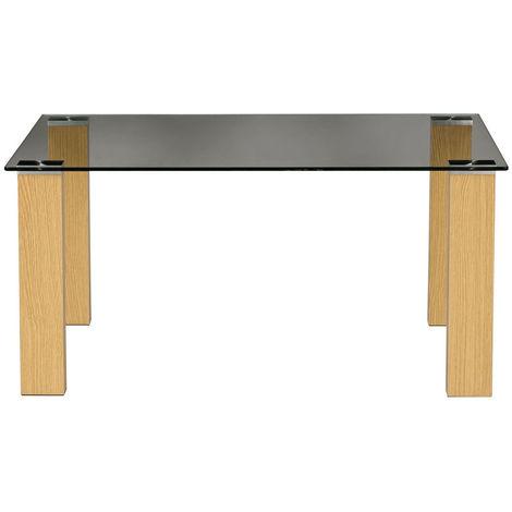 DENHAM - Glass Top Rectangular Coffee Table - Oak
