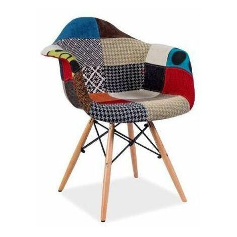 DENIT | Chaise patchwork style scandinave | Dimensions 80x64x46 cm | Rembourrage en tissu patchwork | Pieds en bois - Multicolouleur