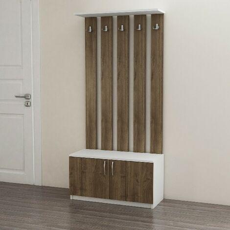 Deniz Eingangsschrank Kleiderstaender - mit Tueren, Haken, Regalen - Weiss, Nussbaum aus Holz, 85 x 37 x 181,8 cm