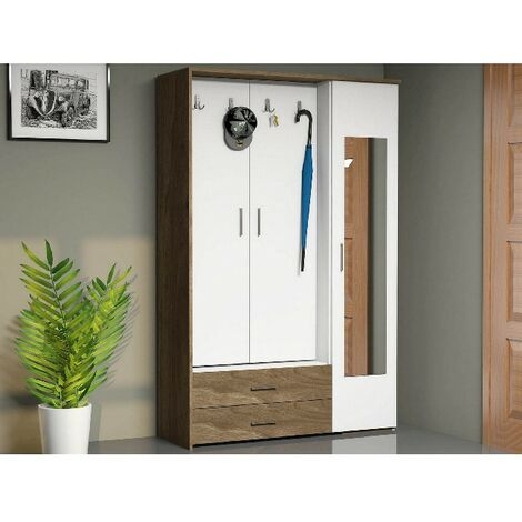 Deniz Hall Unit - Closet, Coat Rack, Shoe Bench - with Mirror, Doors, Shelves, Drawers - Walnut, White, made in Wood, 120 x 40 x 184 cm