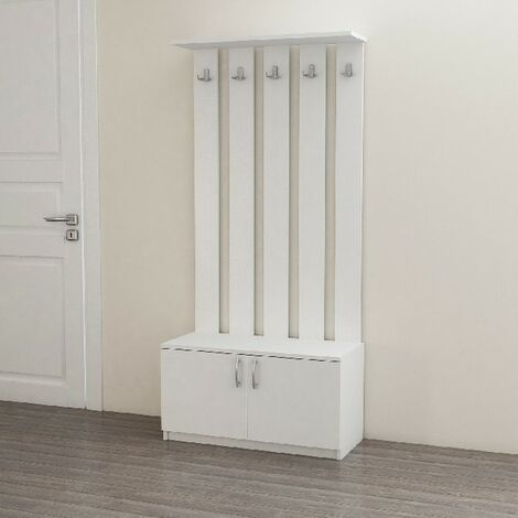Deniz Hall Unit Coat Hangers - with Doors, Hooks, Shelves - White made of Wood, 85 x 37 x 181,8 cm