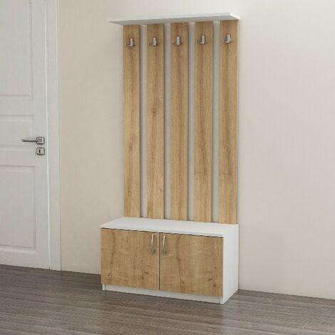 Deniz Hall Unit Coat Hangers - with Doors, Hooks, Shelves - White, Oak made of Wood, 85 x 37 x 181,8 cm
