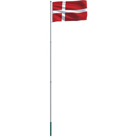 Denmark Flag and Pole Aluminium 6 m