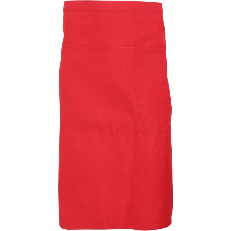 Image of Adults Unisex Catering Waist Apron With Pocket (Pack of 2) (One Size) (Red) - Dennys