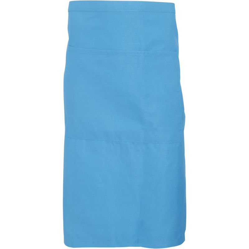 Image of Adults Unisex Catering Waist Apron With Pocket (Pack of 2) (One Size) (Mid Blue) - Dennys