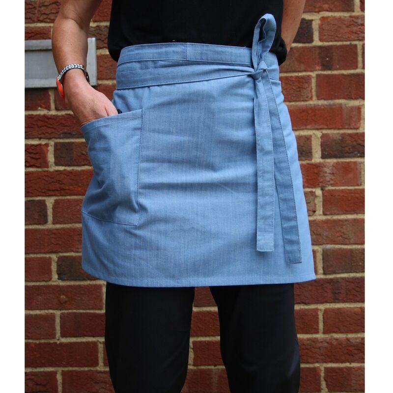 Image of Unisex Cross Dyed Denim Waist Apron with Pocket (One Size) (Light Blue Denim) - Dennys