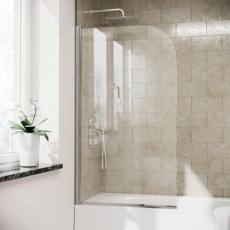 Denver 800 mm Frameless Curved Bath Shower Screen Door