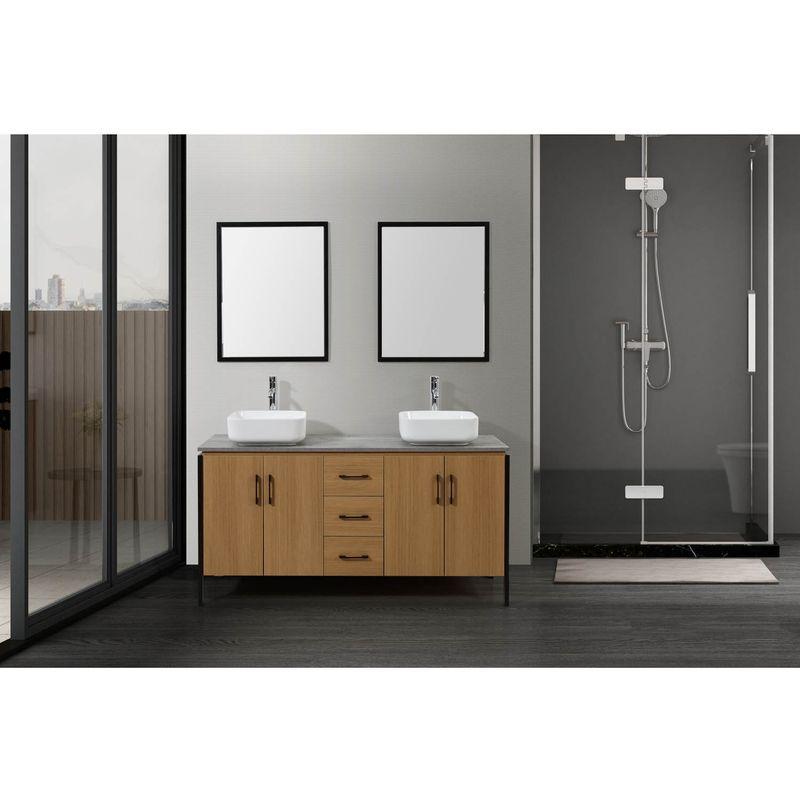 Denver bois et métal : Ensemble de salle de bain industriel : 1 meuble  sous-vasque, 2 vasques, 2 miroirs