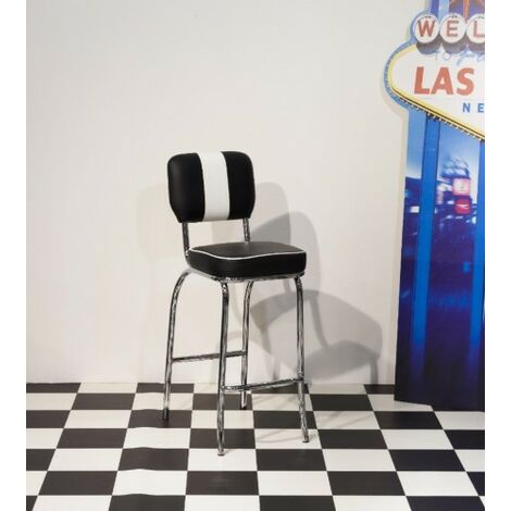 Depone 50'S Style Retro Tall Black And White Kitchen Breakfast Bar Stool Chair Chrome Frame
